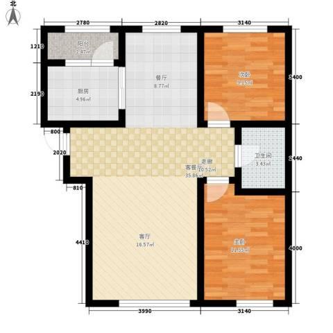 阳光嘉城三期2室1厅1卫1厨77.25㎡户型图