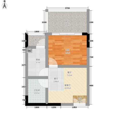 国窖明城1室1厅1卫1厨38.00㎡户型图