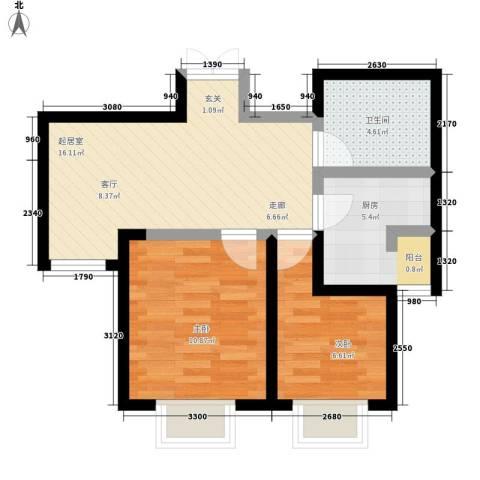 枫景湾家园2室0厅1卫1厨71.00㎡户型图