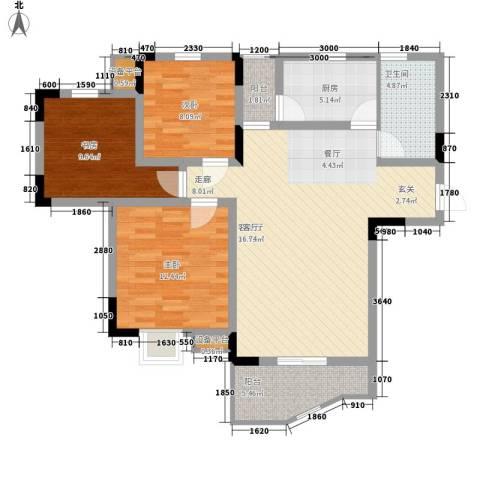 光华南桥人家3室1厅1卫1厨116.00㎡户型图