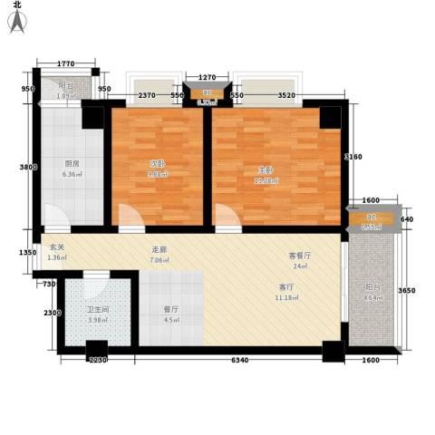 名流水晶宫2室1厅1卫1厨96.00㎡户型图
