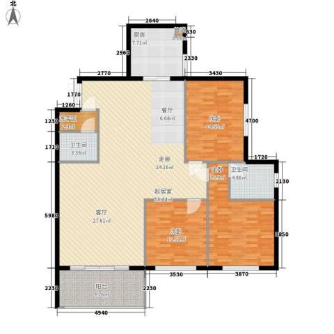 万丰碧云豪庭3室0厅2卫1厨142.00㎡户型图