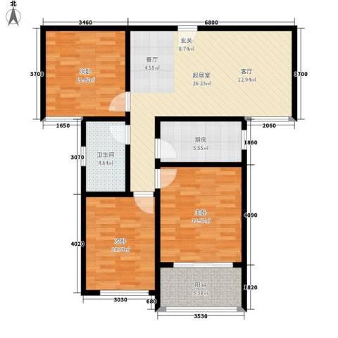 中鹤国际3室0厅1卫1厨109.00㎡户型图