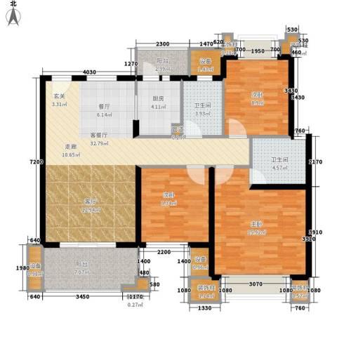 隆兴商业街住宅3室1厅2卫1厨136.00㎡户型图