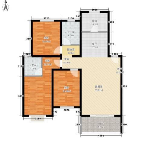 中鹤国际3室0厅2卫1厨139.00㎡户型图