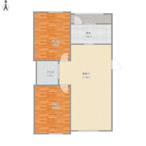 万龙台北明珠2室1厅1卫1厨118.00㎡户型图