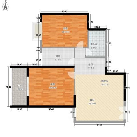 祥和居2室1厅1卫1厨108.00㎡户型图
