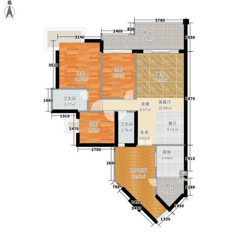 佳华世纪新城A区3室1厅2卫1厨94.00㎡户型图