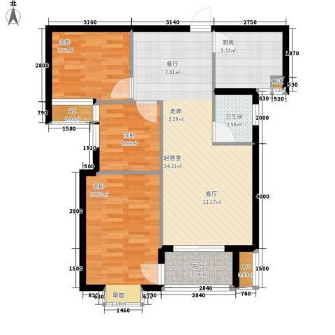 华府壹航线3室0厅1卫1厨91.00㎡户型图