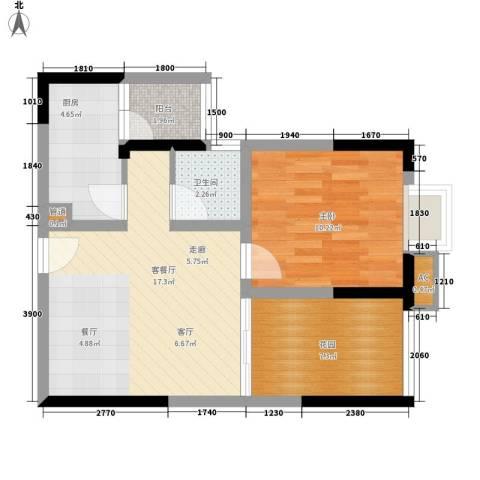 北城阳光今典1室1厅1卫1厨46.00㎡户型图
