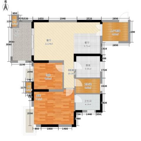 北城阳光今典2室1厅2卫1厨80.00㎡户型图
