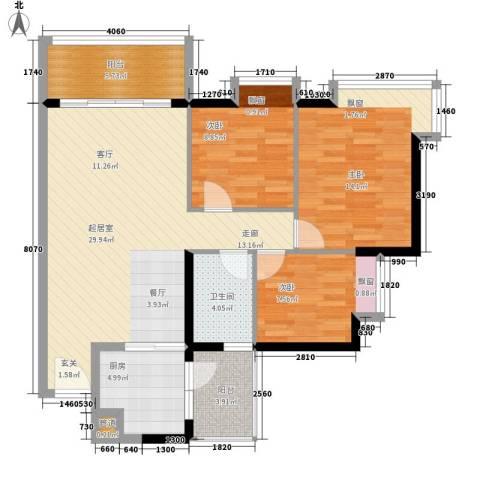 富力桃园3室0厅1卫1厨91.00㎡户型图
