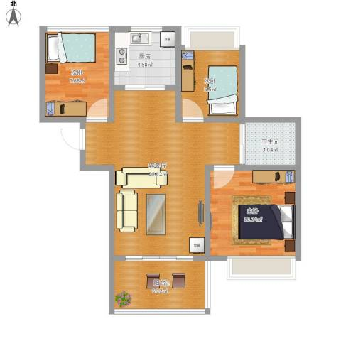 朗诗未来街区3室1厅1卫1厨87.00㎡户型图