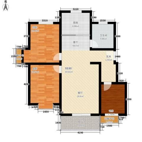 东湖庄园3室1厅1卫1厨121.00㎡户型图