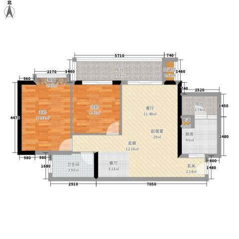 富力桃园2室0厅1卫1厨83.00㎡户型图