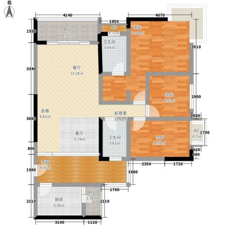 敬业大厦3室0厅2卫1厨93.05㎡户型图
