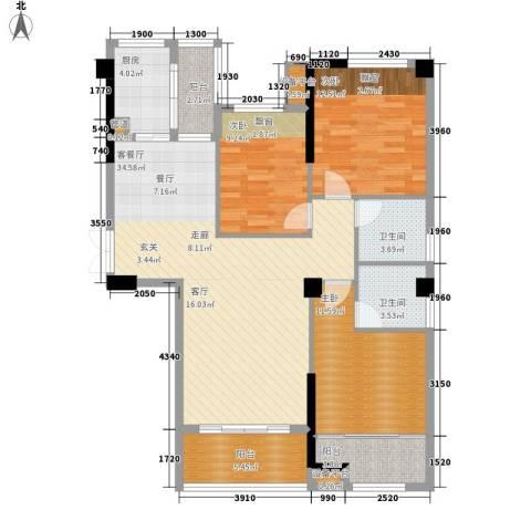 优山美地3室1厅2卫1厨132.00㎡户型图