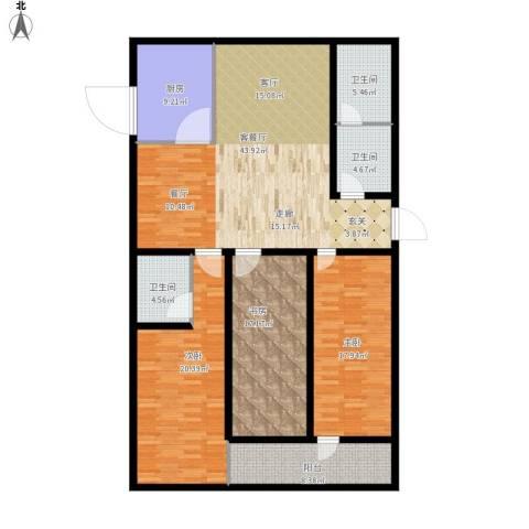 金容花园3室1厅3卫1厨185.00㎡户型图