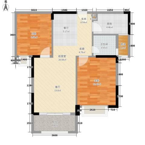 龙凤春晓2室0厅1卫1厨87.00㎡户型图