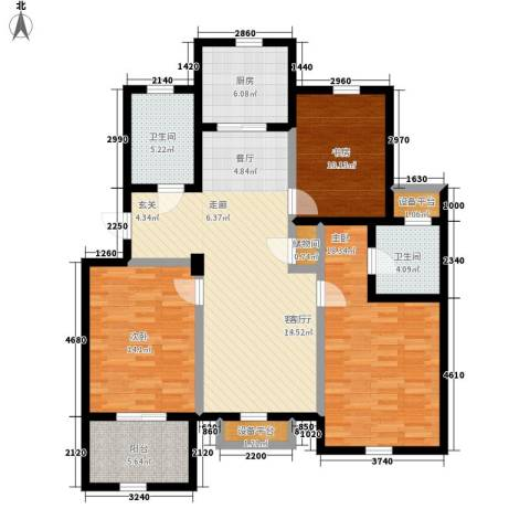 金世纪铭城华庭3室1厅2卫1厨115.00㎡户型图