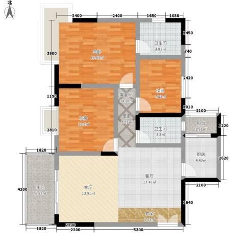 国窖明城3室1厅2卫1厨104.00㎡户型图