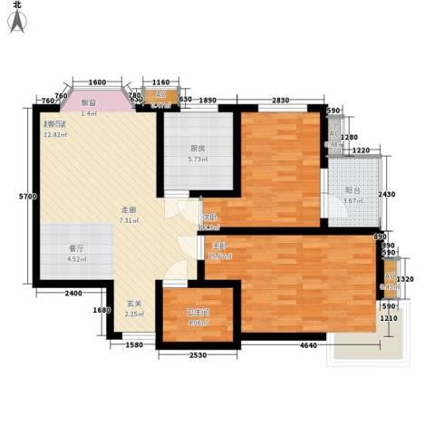 伟东君庭2室0厅1卫1厨95.00㎡户型图