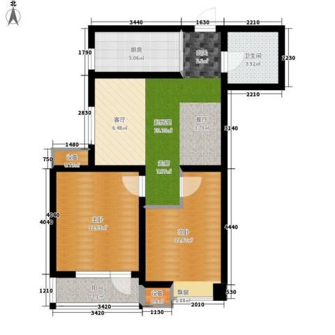 新梅江雅境新枫尚2室0厅1卫1厨85.00㎡户型图