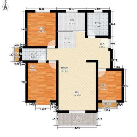 东湖庄园3室1厅2卫1厨126.00㎡户型图