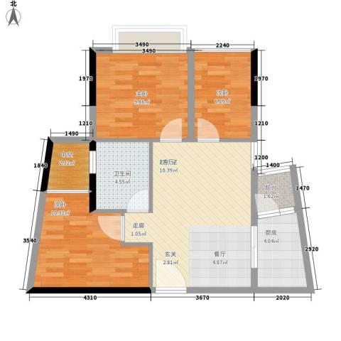 兰亭峰景3室0厅1卫1厨66.00㎡户型图