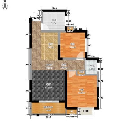 长沙嘉华城2室1厅1卫1厨82.00㎡户型图