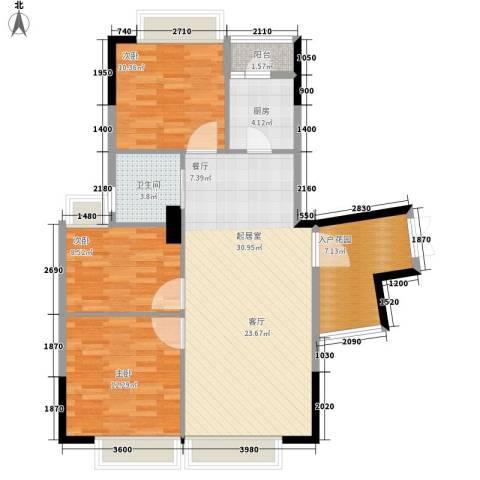 兰亭峰景3室0厅1卫1厨88.00㎡户型图