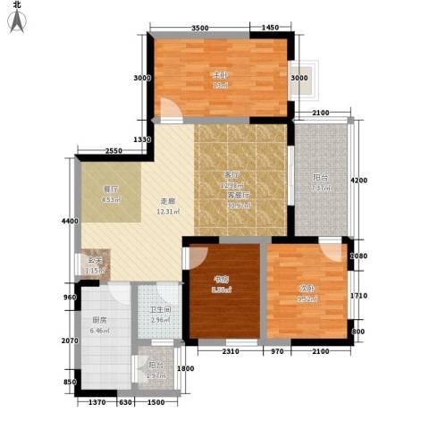 国窖明城3室1厅1卫1厨87.00㎡户型图