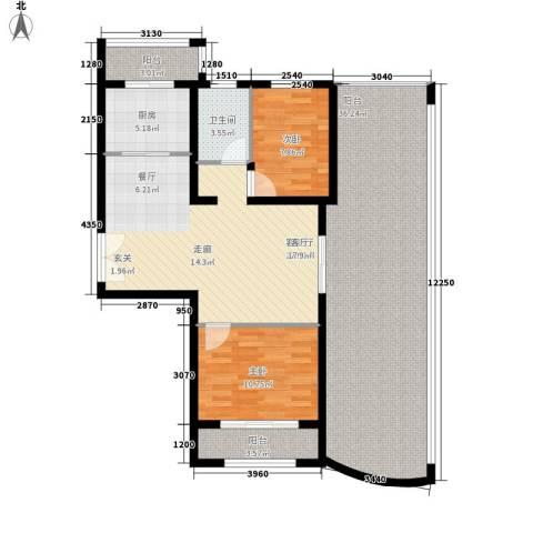 水映兰庭2室1厅1卫1厨106.00㎡户型图