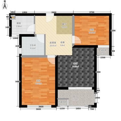 时代阳光2室0厅1卫1厨90.00㎡户型图