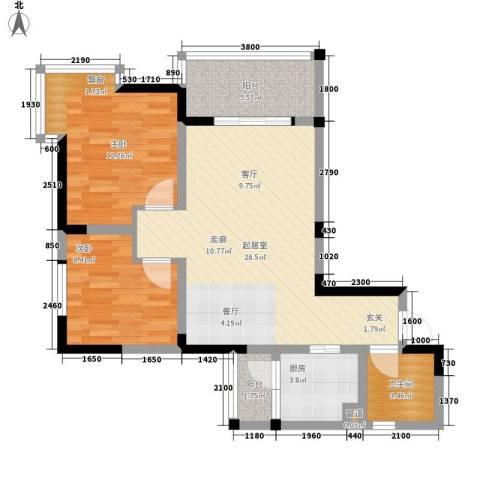 海德盛世2室0厅1卫1厨66.00㎡户型图