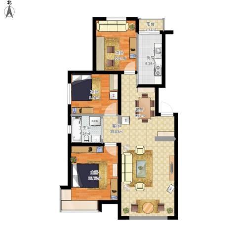 金地・国际花园3室1厅1卫1厨119.00㎡户型图
