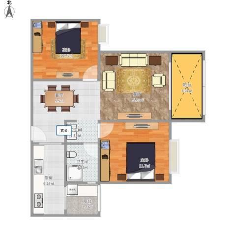 恒鑫名城三期2室1厅1卫1厨70.87㎡户型图