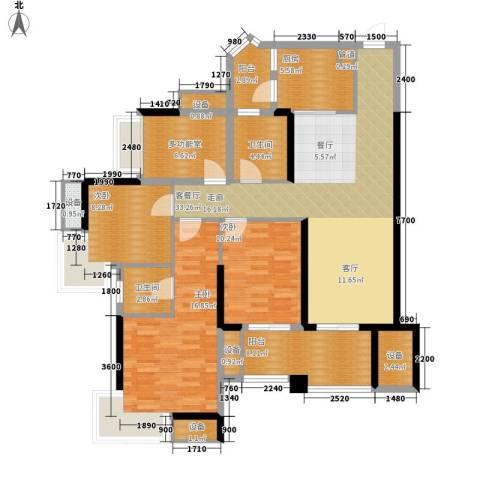 中海北滨华庭3室1厅2卫1厨106.00㎡户型图