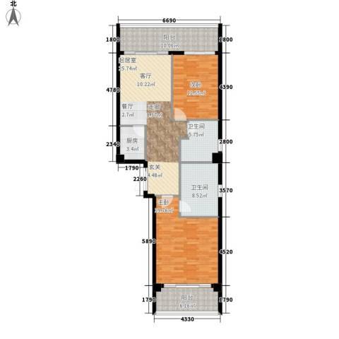 官塘万万泉2室0厅2卫1厨103.96㎡户型图