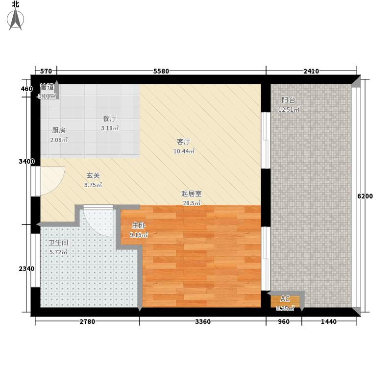 合景·月亮湾53.00㎡合景&#8226月亮湾公寓B户型