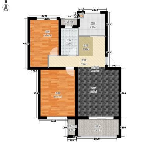 时代阳光2室0厅1卫1厨88.00㎡户型图