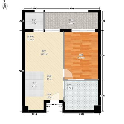 官塘万万泉1室0厅1卫1厨58.87㎡户型图
