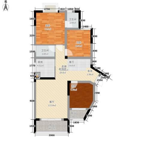 海德盛世3室0厅2卫1厨83.00㎡户型图
