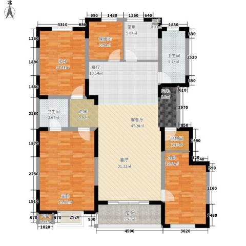 建发滨湖家园3室1厅2卫1厨174.00㎡户型图