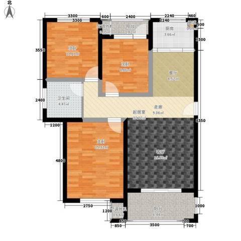 时代阳光3室0厅1卫1厨111.00㎡户型图