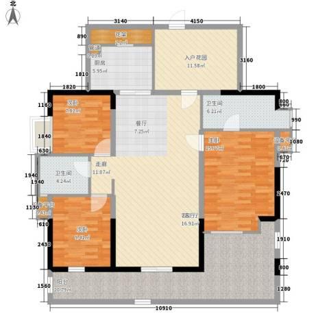 荟雅名苑3室1厅2卫1厨170.00㎡户型图