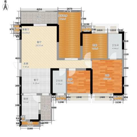 荟雅名苑3室1厅2卫1厨142.00㎡户型图