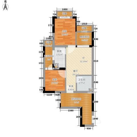 重庆国际家纺城绣色2室0厅1卫1厨53.00㎡户型图