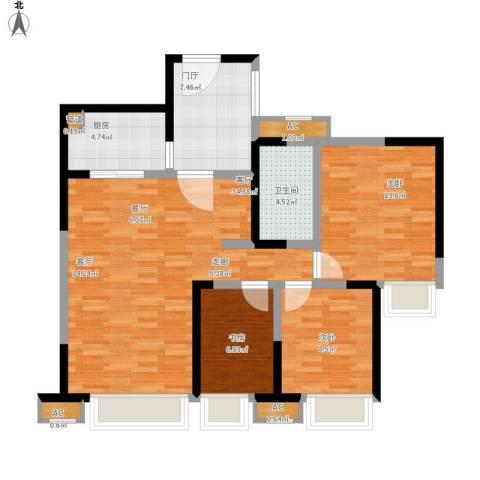 中海兰庭3室1厅1卫1厨115.00㎡户型图