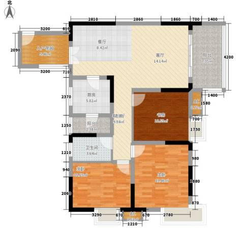 北城阳光今典3室1厅1卫1厨94.00㎡户型图